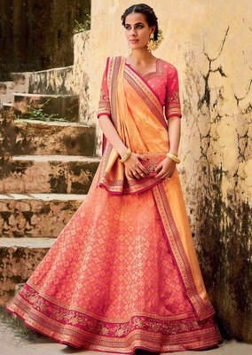 Salmon embroidered jacquard unstitched lehenga with dupatta