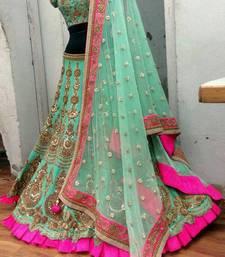 Buy Sea green embroidered silk unstitched lehenga with dupatta lehenga-choli online