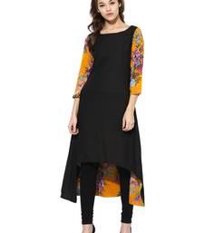 Buy Black printed cotton stitched kurtas-and-kurtis kurtas-and-kurtis online