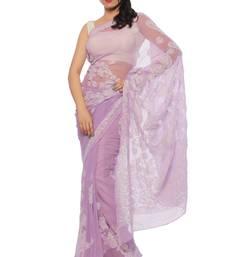 Buy Purple embroidered georgette saree with blouse chikankari-sari online
