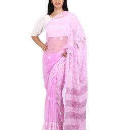 Buy White embroidered georgette saree with blouse chikankari-sari online