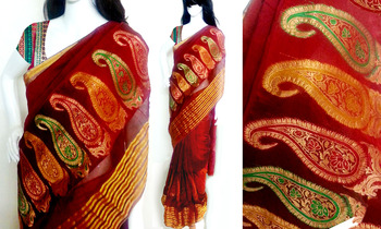 Maroon embroidery cotton silk ethnic festive with blouse