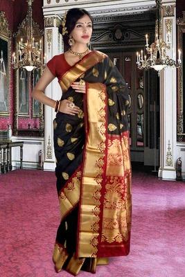 Black pure silk zari weaved saree with maroon pallu & blouse-SR5797