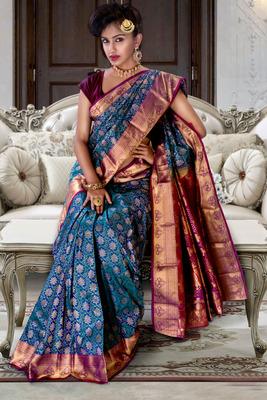Blue pure silk zari weaved saree in wine zari weaved pallu & blouse-SR5813