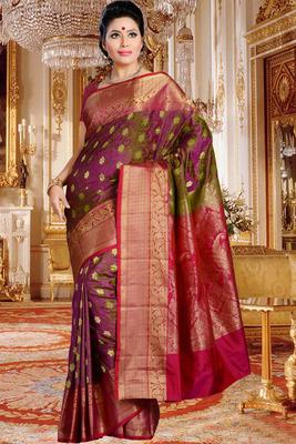 Purplish green pure silk zari weaved saree in multi colour border-SR5823