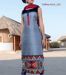 Buy grey stitched taffeta silk stitched kurti party-wear-kurtis online