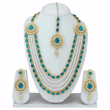 Turquoise and Gold American Diamond Necklace Set With Earrings and Tikka