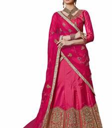 Buy Pink embroidered silk unstitched lehenga with dupatta lehenga-choli online