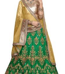 Buy Green embroidered net unstitched lehenga with dupatta lehenga-choli online