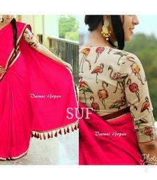 Buy Pink printed chanderi saree with blouse printed-saree online