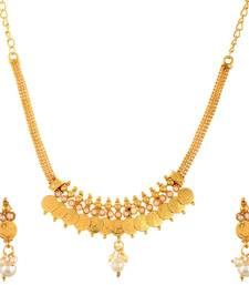 Buy Traditional Laxmi Ji Coin Necklace Gold Plated Pearl bead necklace-set online