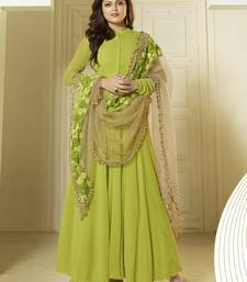 Buy Green embroidered georgette salwar with dupatta semi-stitched-salwar-suit online