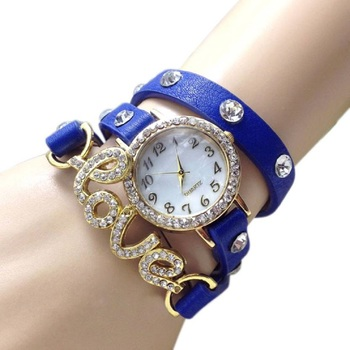 Freny Exim Blue Exclusive Diamond Studded Precious Collaction Love Bracelet For Valantine Analog Watch - For Girls