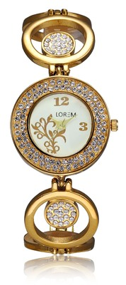 Freny Exim Gold Designer Metal Bracelet Diamond Studded Watch For Women - For Girls