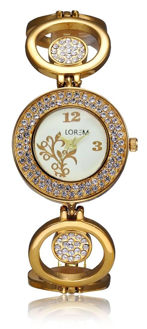 Buy Freny Exim Gold Designer Metal Bracelet Diamond Studded Watch ...