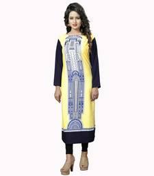 Buy Yellow printed crepe stitched long-kurtis (Premium quality) long-kurti online