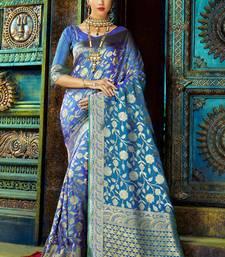 Buy Blue woven kanchipuram silk saree with blouse wedding-season-sale online