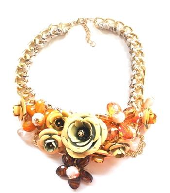 Brown Flower garland necklace