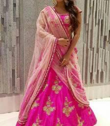 Buy Pink embroidered silk unstitched lehenga with dupatta lehenga online