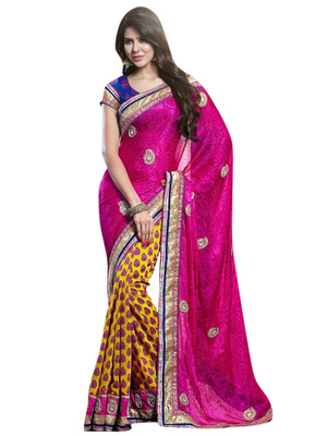Designer Pure Georgette Jacquard Pink Yellow Half and Half Saree With Blue Blouse