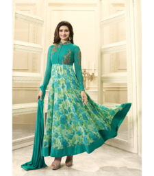 Buy Green embroidered georgette salwar with dupatta anarkali-salwar-kameez online