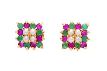 BEAUTIFUL STONE STUDDED SQUARE TOPS/EARRINGS/STUDS (PEARL RUBY EMRALD) - PCE1008