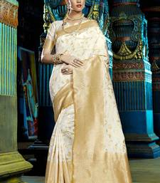 Buy Off white woven kanchipuram silk saree with blouse pongal-dhoti-saree online