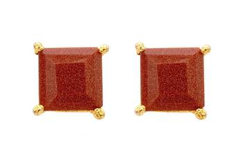 ELEGANT SINGLE STONE STUDDED SQUARE TOPS/STUDS/EARRINGS (SUNSTONE) - PCE1076