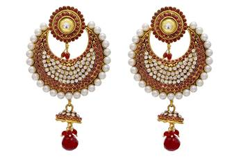 ANTIQUE GOLDEN STONE STUDDED CHAAND BAALI EARRINGS/HANGINGS (RED)  - PCAE2001