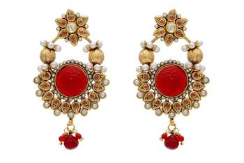 ANTIQUE GOLDEN STONE STUDDED FLOWER STYLE EARRINGS (RED)  - PCAE2007