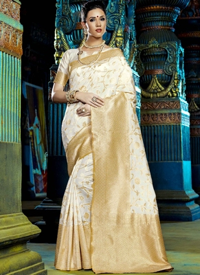 Off white woven kanchipuram silk saree with blouse