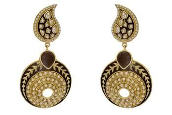 ANTIQUE GOLDEN STONE STUDDED KAIRI SHAPED ROUND EARRINGS/HANGINGS (BLACK)  - PCAE2243
