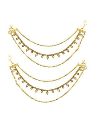 Golden beige polki stones ear chain jewellery for women