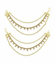 Buy Golden beige polki stones ear chain jewellery for women karva-chauth-jewellery online
