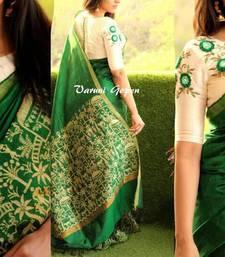 Buy Green printed bhagalpuri cotton saree with blouse bhagalpuri-silk-saree online
