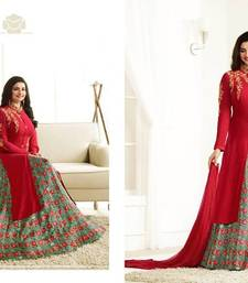 Buy Red embroidered georgette salwar with dupatta ready-to-ship-salwar-kameez online