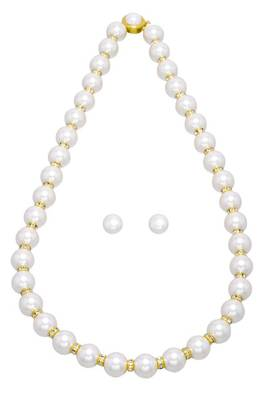 10MM SHELL PEARLS & AD CHAKRI SET WITH EARRINGS FROM HYDERABAD -