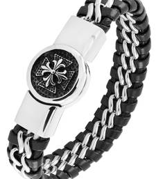 Buy Victorian punk high quality braided 100% genuine leather 316l stainless steel wrist band bracelet men gifts-for-brother online