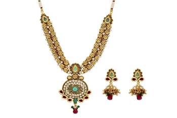 ANTIQUE GOLDEN STONE STUDDED FLOWER THEME STYLE NECKLACE SET (AD RED GREEN)  -