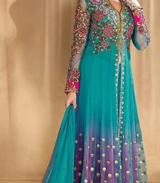Buy Light sky blue embroidered net salwar with dupatta salwar-kameez online