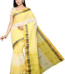 Buy Yellow plain pure cotton saree with blouse haldi-ceremony-dress online