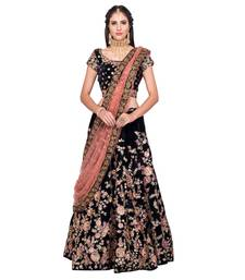 Buy Navy blue embroidered velvet semi stitched lehenga with dupatta black-friday-deal-sale online