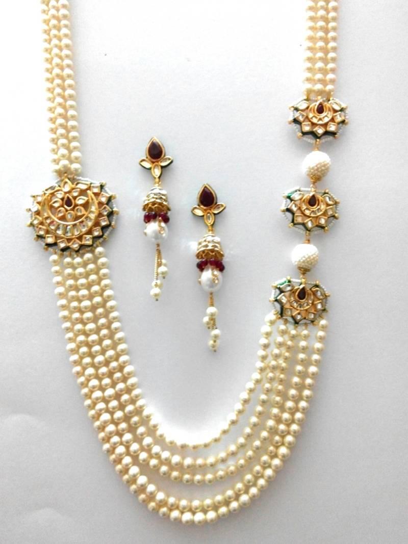 Buy Rajwadi Kundan Moti Haar Online