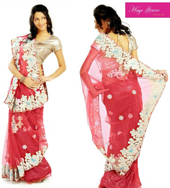 Net  Saree with Shimmer Unstitched Peticoat
