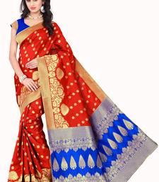 Buy Orange  banarasi saree with blouse jacquard-saree online