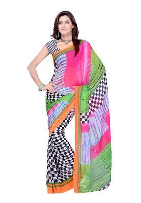 Multi Colored Chiffon Printed Saree