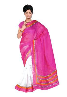 Magenta Colored Silk Kota Printed Saree