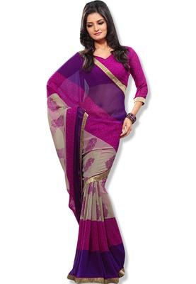 Pink & Violet Colored Chiffon Printed Saree