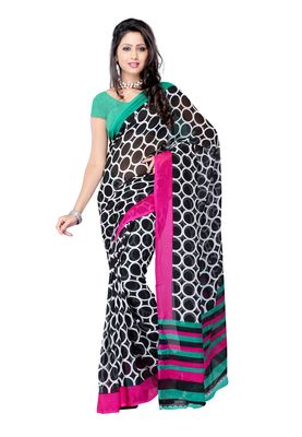Petra Fab Black Colored Georgette Printed Saree