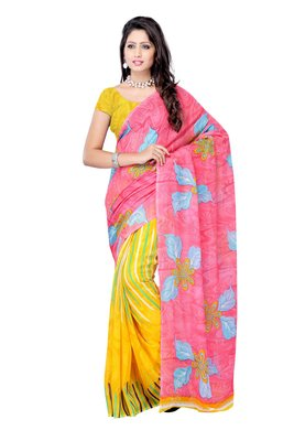 Petra Fab Pink Colored Georgette Printed Saree